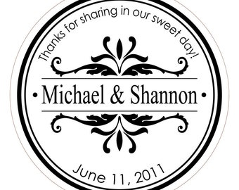 Flourish Name . Personalized Wedding Stickers, Labels or Envelope Seals
