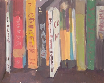 original painting / gouache painting / still life painting of books
