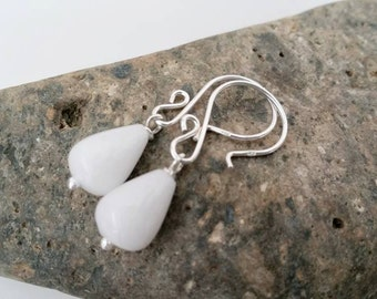 White Jade Earrings - White Sterling Silver Earrings, Dangle Earrings, White Gemstone -  Handmade Jewelry
