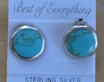 Turquoise, Sterling Silver Button Clip Earrings, Semi-Precious, Vintage (AB2)