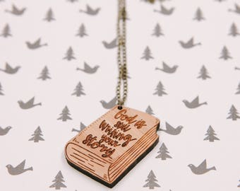 God Is Still Writing Your Story Laser-cut Bamboo Wood Typography Necklace