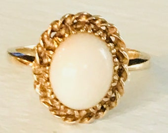 10k yellow gold coral ring