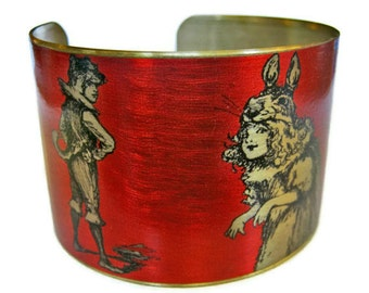 RABBIT Girl and WOLF Boy Vintage style brass cuff bracelet Gifts for her