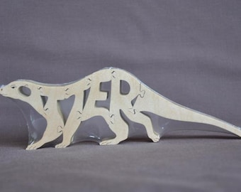 Otter Wood Animal Puzzle Hand Cut with Scroll Saw Wooden Toy