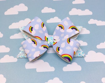 Rainbow Bow, Cloud Bow, Colorful Bow, Stacked Bow, Glitter Bow, Faux Leather Bow, Pride Bow, Rainbow Baby Bow, Hair Bow, Blue Bow,