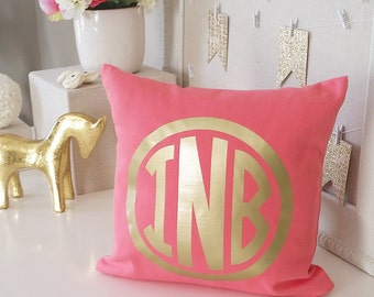 Coral Monogram Decorative Throw Pillow Cover, Personalized Farmhouse Pillow Covers, Custom Wedding Accent Pillows OVERSTOCK INVENTORY SALE!