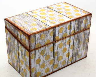 Wood Recipe Box Barn Wood Yellow and White Polka Dots Fits 4x6 Recipe Cards
