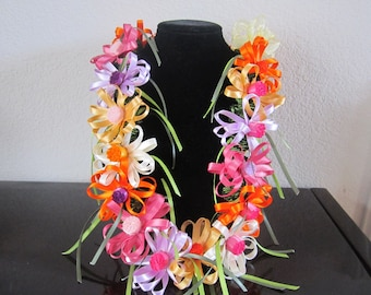 Gerbera Flower Satin Ribbon Lei