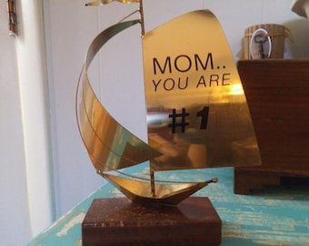 Vintage BRASS and Marble Sailboat ~ MOM You are # 1 ~ GIFT for Mom ~ Nautical ~ Beach Cottage