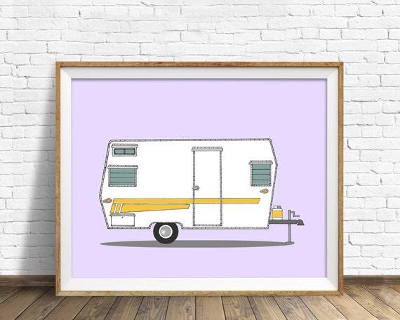 "vintage camper art, drawing, art print, large art, large wall art, purple, lavender, mid century modern decor, print - ""Aristocrat Camper"""