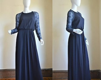 SUMMER SOLSTIC SALE 1970s Victoria Royal Navy Blue Silk Chiffon & Beaded Gown with Rhinestones Hong Kong