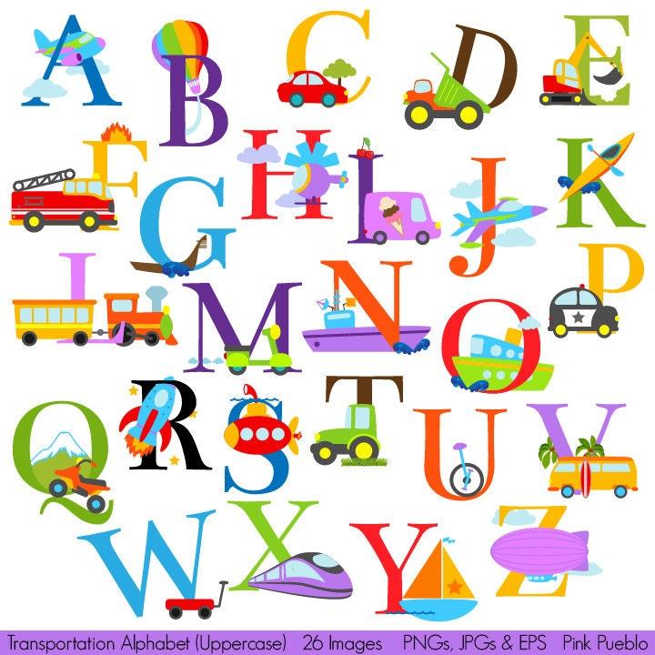 transportation alphabet clipart clip art construction rh etsy com clipart alphabet with kids clipart alphabet with kids