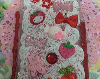 Strawberry iPhone 6 6s Case Deco Decoden Kawaii Whip Whipped Cream Ice Cream Pink Red