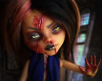 """OOAK Custom Monster High Repainted Doll """"Lytta ~ Creature of Wrath"""""""