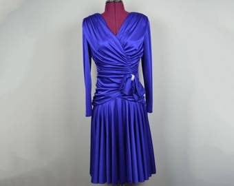 vintage ruched dress 80s gown blue bow skirt women's clothing