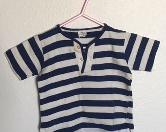Vintage little boys blue and for striped top