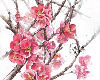 Original watercolor painting quince blooming tree home decor wall decor 11x14""