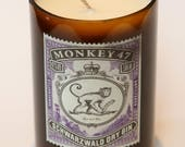 Monkey 47 Gin bottle Candle scented with juniper and seaweed, gin and tonic, gin lover gift