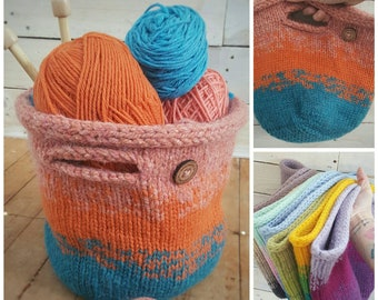Knitting Project Bag - Small Project Bag - Mother's Day Gift - Sock Project Bag - Storage Basket- Farmhouse Basket - Gift for Her - Yarn Bag