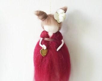 red fairy,needle felted fairy,wool fairy,waldorf inspired doll fairy,nursery decor,fairies,fairy mobile,fantasy mobile,magic fairy,felted