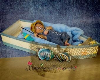 Newborn Fisherman Overalls,Fisherman hat,Fish Net,photo Prop,newborn overalls