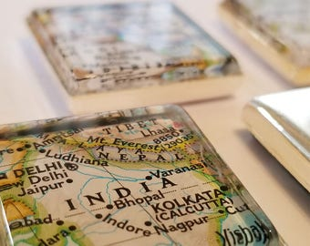 ASIA Map Magnet Set // Indonesia / Mongolia / India / Iraq / Philippines // 5 1-Inch Square Magnets // FUNDRAISER for Humanitarian Trip