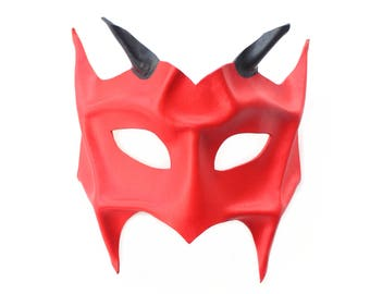 Red Leather Devil Demon Horned Masquerade Mask, Handmade