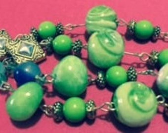 Lime Green / Blue Necklace Set
