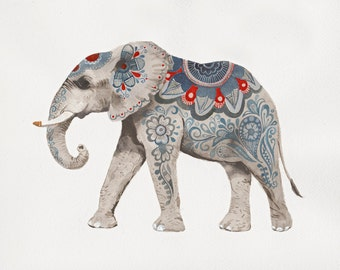 Indian Elephant Art - Mehndi Elephant Print - Elephant Giclee Print - Boho Decor - Boho Art