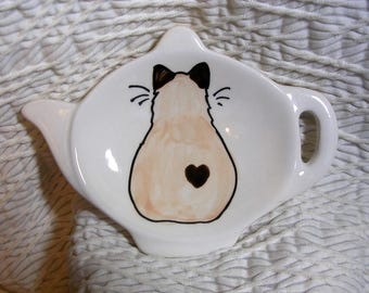 Seal Point Siamese Himalayan Cat With Heart Teabag Holder Handmade Ceramic by Grace M. Smith