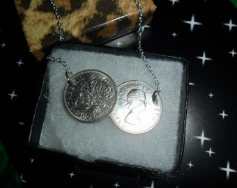 Lucky silver British sixpence double coin Necklace two coin REAL COINS Birthday necklace dates 1948-1967 heads and tails gift for a woman