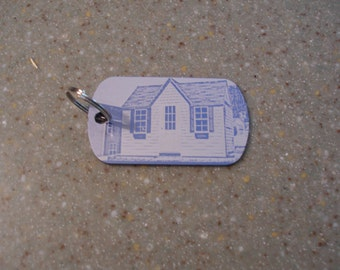 Personalized photograph or text on dog tag key chain