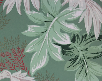 1950s Vintage Wallpaper Large Tropical Leaves on Green Red Accents by the Yard