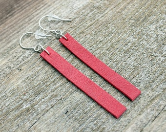 Titanium Leather Earrings, Red Leather with Hypoallergenic Titanium Ear Wires, 2 sizes