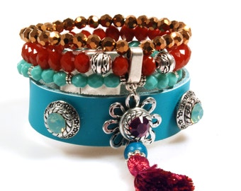 Wide Ibiza bracelet in turquoise and red made of leather and beads with a tassel and with Swarovski Crystals, OOAK jewelry woman gifts