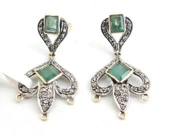 Victorian Diamond Emerald Gold Silver Stud Earring Pair