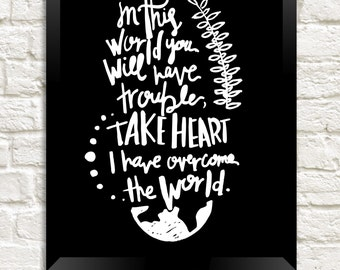 "Printable ""In this world you will have trouble.."" Wall Art, Instant Download Digital Print, Home Decor Art Print, Wall Print, Typography Art"