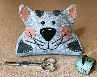 Wool Felt Pincushion Kitty Cat