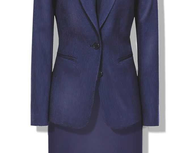 Classic women's suit pattern, 44 small size to print in A4 sheets