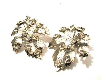 HUGE Vintage Silvery Gold Tone and Diamond Rhinestone Pumpkin Leaf Clip Earrings