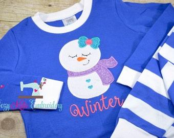 Christmas Pajamas, Christmas PJ, Holiday Pajamas, Holiday PJ, Snowman Pajamas, Custom Pajamas, Custom PJ, Embrioidery, Applique