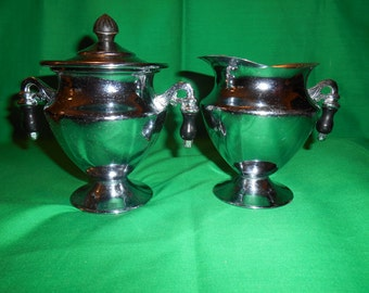 One (1), Chrome, Sugar Bowl with Lid and Matching 10 oz Creamer, Unmarked.