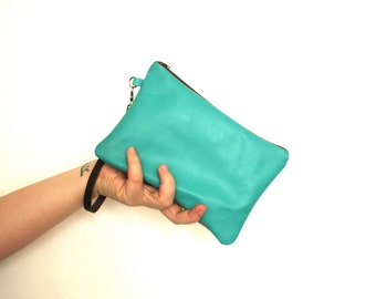 Leather Pouch, Cosmetic bag ,Clutch Purse, Mint Blue Turquoise Wristlet genuine leather