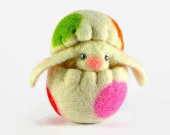 Easter Bunny in a Wool Easter Egg - Miniature Easter Decoration - Easter Egg Ornament - Easter Toy - Easter Basket Filler
