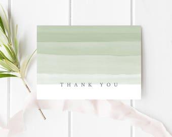 Thank You Card, PRINTABLE Thank You Card, Sage Green Thank You Card, Watercolor Thank You Card, Folded A1 Card, Modern Thank You Card, Card