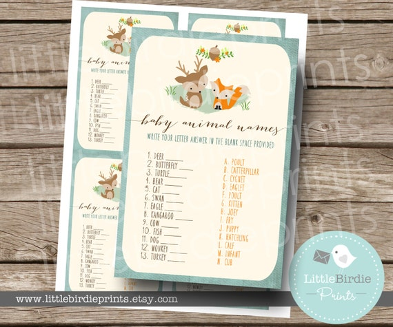 Baby Shower Game Name The Baby Animal: WOODLAND Baby Shower Game Baby Animal Names // Woodland Baby