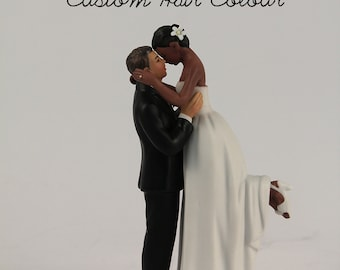 Personalized Bride and Groom Wedding Cake Toppers - Medium Skin Tone Groom and Dark Skin Tone Bride - Interlocking Wedding Cake Toppers