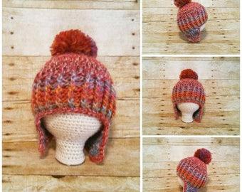 Baby Pom Pom Hat, Pom Pom Earflap Beanie, Winter Hat for Baby, Baby Earflap Beanie, Baby Earflap Hat with Pom Pom