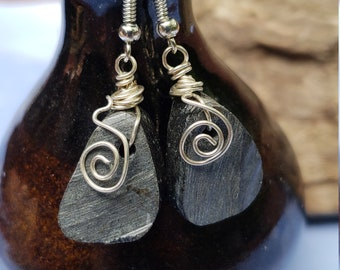Lake Michigan Indiana Dunes Black Beach Stone Earrings in Sterling Silver