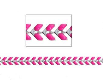 Silver Pink enameled ear chain 20 cm
